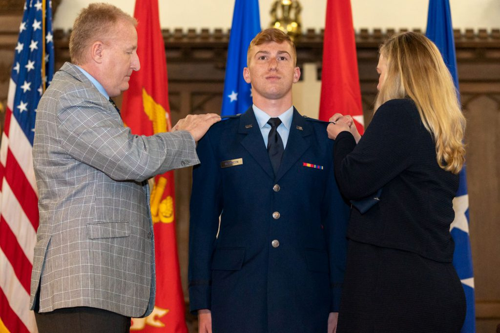 Pinning bars at Air Force commissioning