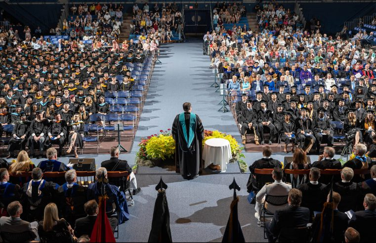 The Honorable Robert Wilkie, Secretary of Veterans Affairs, delivers a commencement address during The Citadel Graduate College commencement on May 4, 2019.