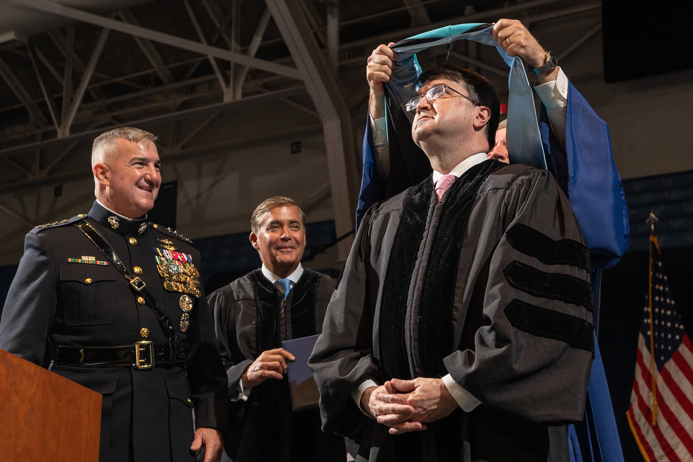 The Honorable Robert Wilkie, Secretary of Veterans Affairs, receives an honorary doctoral degree in public administration during The Citadel Graduate College commencement on May 4, 2019.