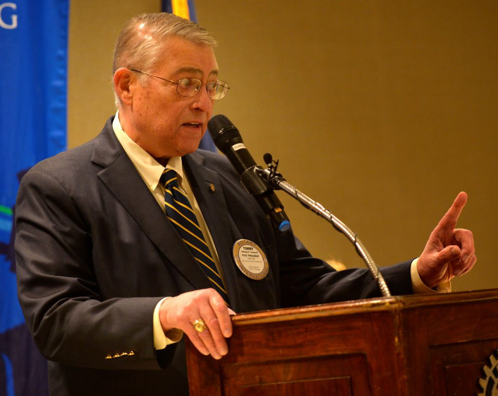Tommy Young speaking to Rotary Club of Spartanburg (Courtesy: Alex Hicks Jr./Spartanburg Herald-Journal)