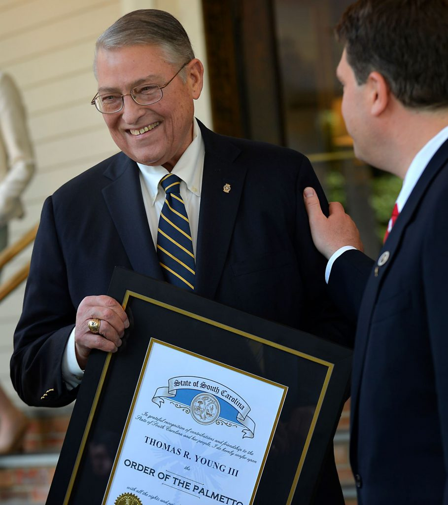 Tommy Young with Order of the Palmetto award (Courtesy: Alex Hicks Jr./Spartanburg Herald-Journal)