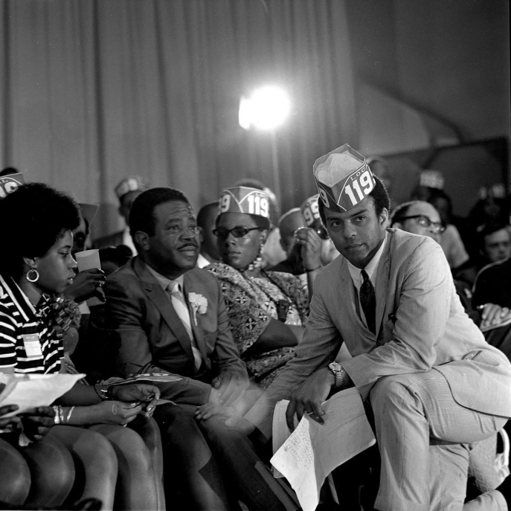 A photograph by Cecil Williams featuring Andrew Young (right) and Ralph Abernathy of the Southern Christian Leadership Conference.