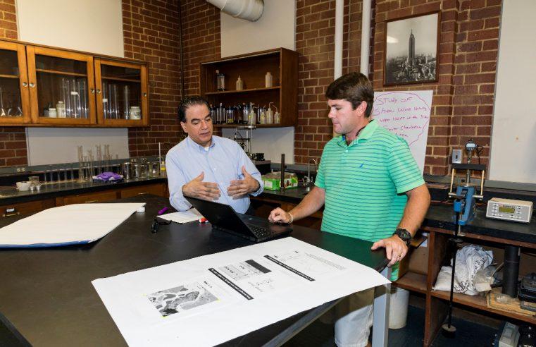 Citadel civil engineering professor Dr. Simon Ghanat teaching in lab