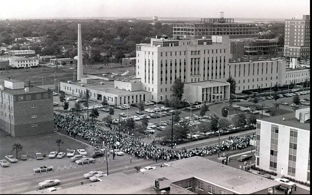 Hospital workers on strike march past Roper Hospital on Calhoun Street on May 12, 1969. (Courtesy: The Post and Courier)