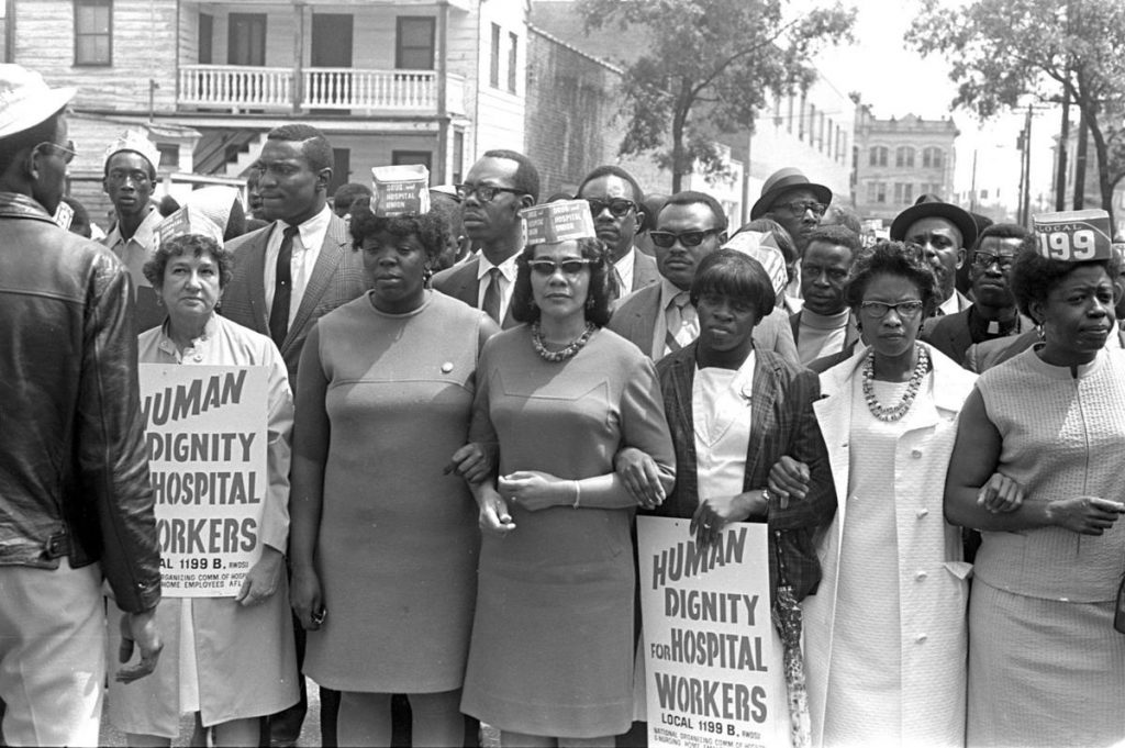 Julia Davis, Mary Moultrie, Coretta Scott King, Rosetta Simmons, Juanita Abernathy and Doris Turner lead a march in support of striking hospital workers on April 30, 1969. (Courtesy: The Post and Courier)