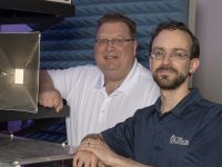 Citadel engineering professor Greg Mazzaro with Army Research Lab project team lead, Kelly Sherbondy at the lab in Adelphi, Maryland