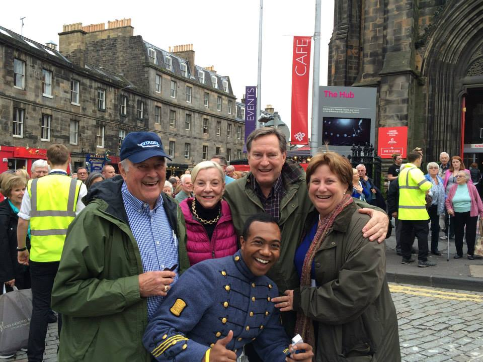 Citadel cadet visiting with alumni and their wives in Edinburgh, Scotland