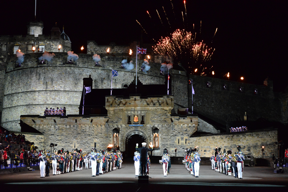 The Citadel Regimental Band and Pipes performing in Royal Edinburgh Tattoo as America's Band 2015