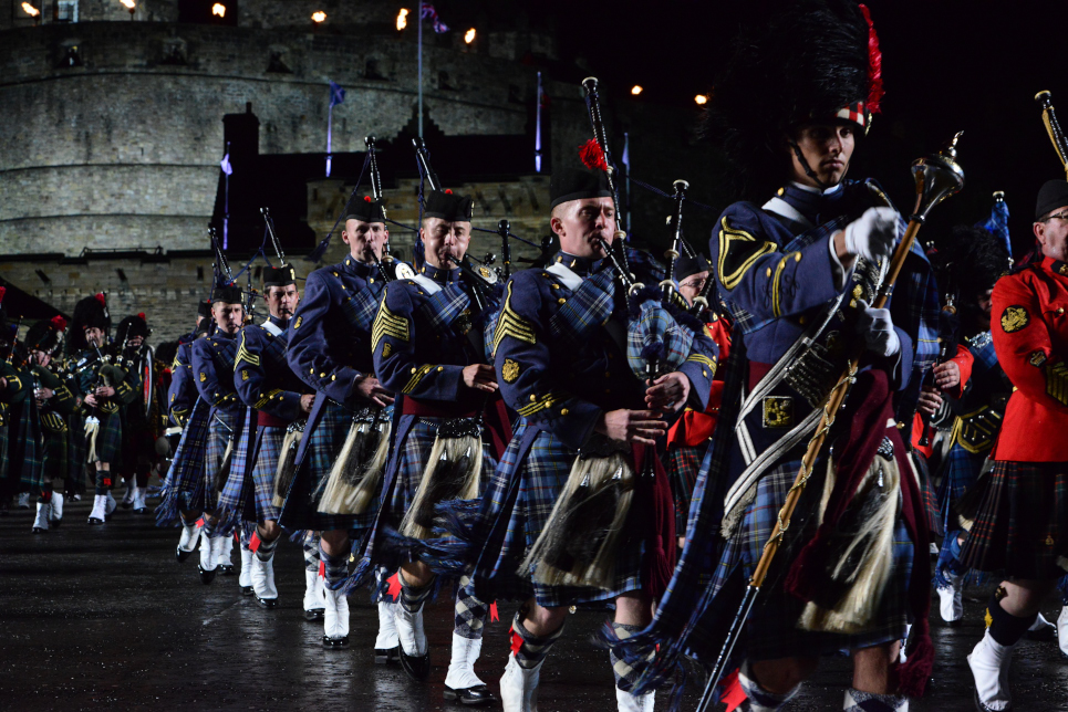 The Citadel Regimental Band and Pipes performing as America's Band 2015 at the Royal Edinburgh Military Tattoo