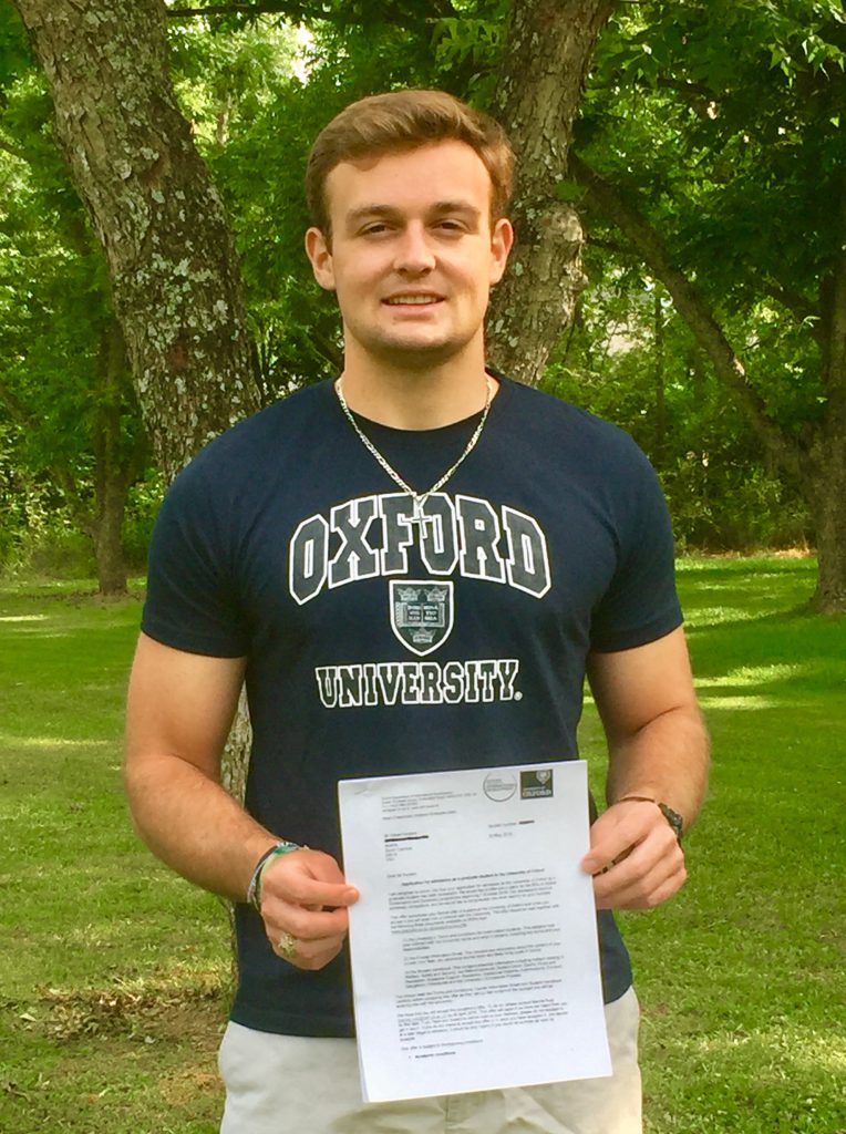 Gilbert Fenters with Oxford acceptance letter