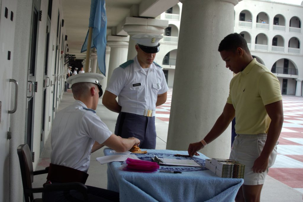 Cadet recruit checking in on Matriculation Day 2019