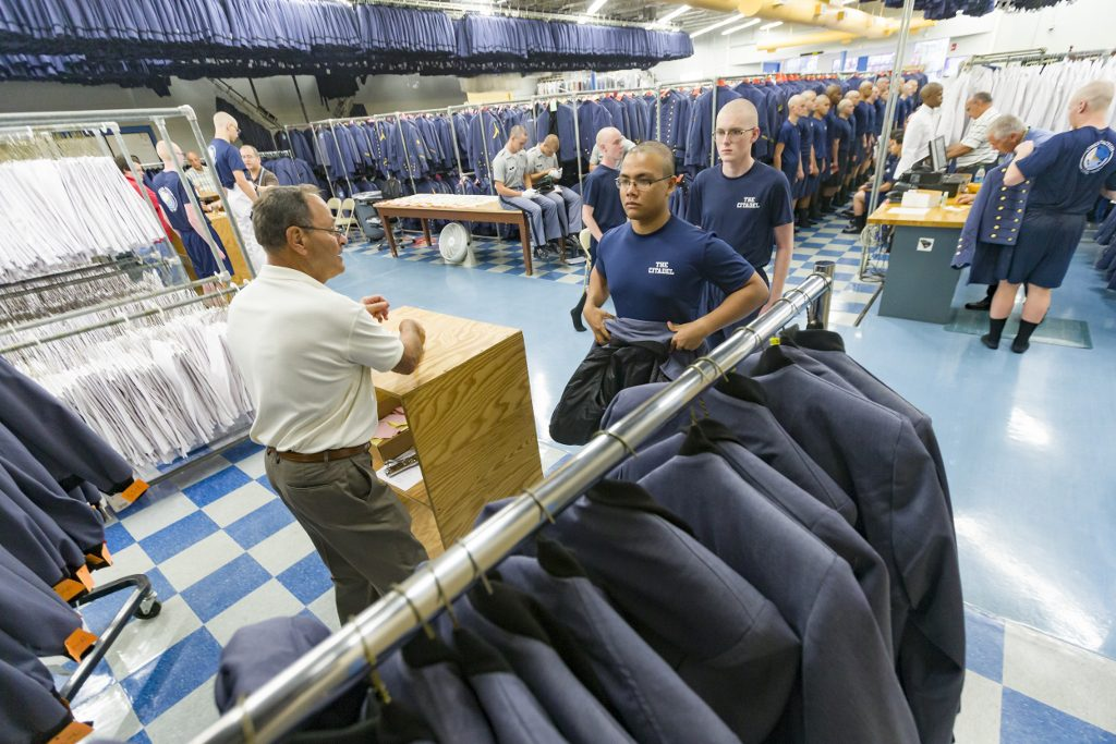 Cadet recruits at The Citadel getting fitted for uniforms