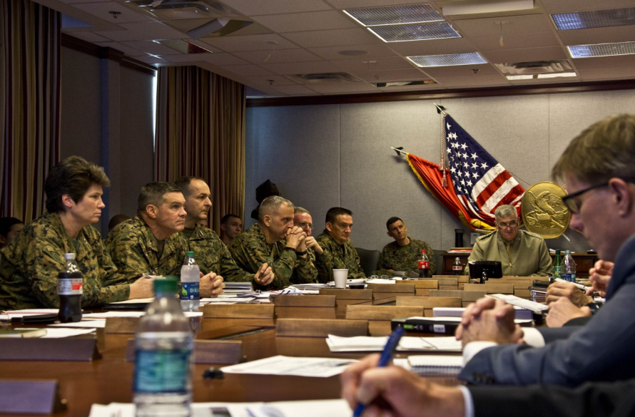 Lt. Gen. Lori Reynolds, left, and Gen. Glenn Walters, right, during meeting with Marine Corps leadership, 2018