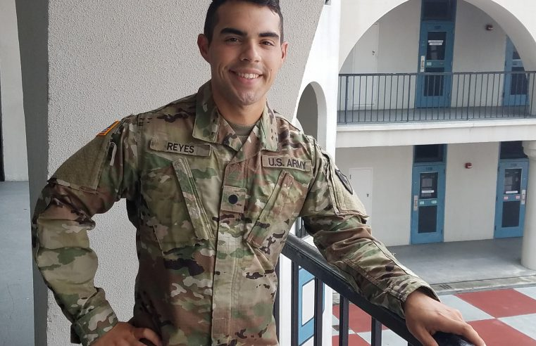 Cadet Brandley Reyes on a balcony at The Citadel