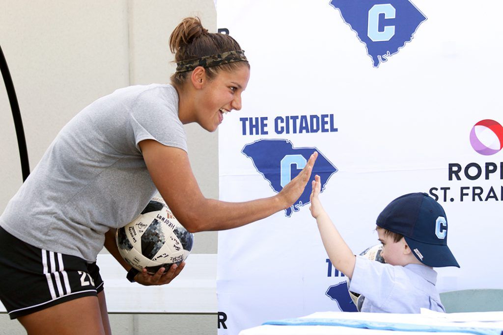 Citadel soccer team presents Milo with signed soccer ball