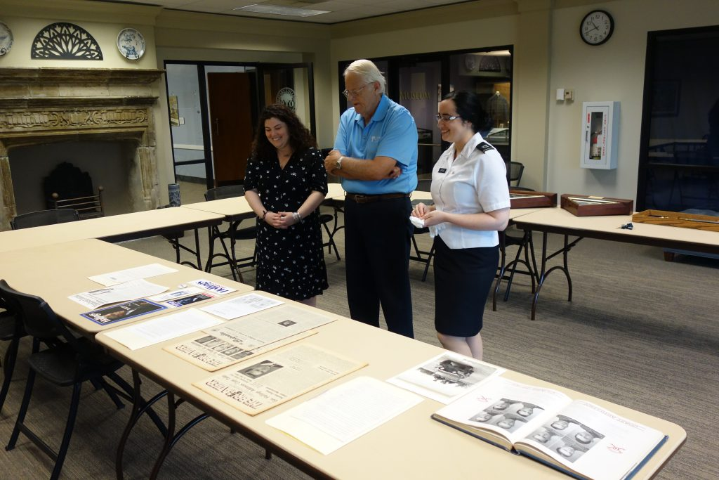 Claude Baldwin III viewing Fritz Hollings material from The Citadel Archives with Alexandra Adler, archives assistant (left) and Tessa Updike, The Citadel archivist (right)