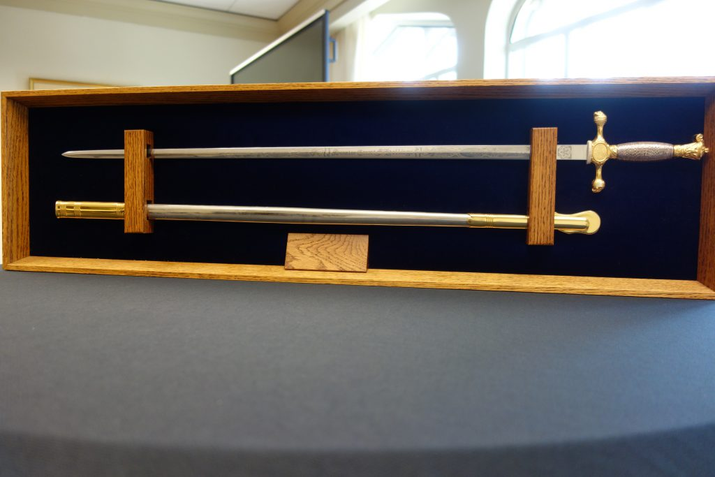 An engraved, honorary sword presented to Fritz Hollings