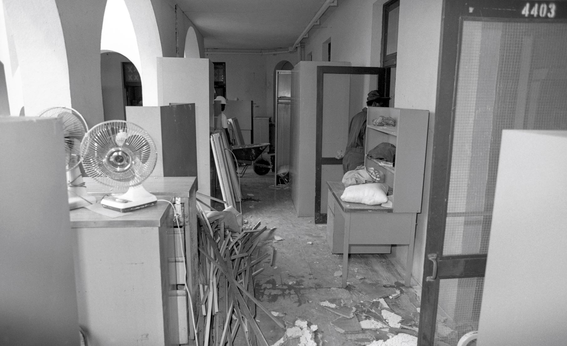 Damages and cleanup inside the barracks