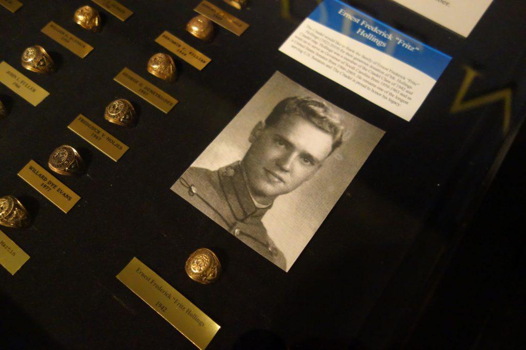 Fritz Hollings's ring displayed in case at The Citadel Mueseum
