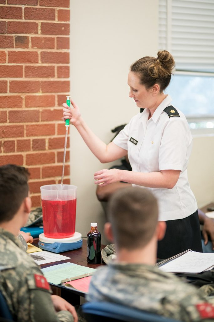 Dr. Mary Katherine Watson, professor of civil and environmental engineering at The Citadel, teaching cadets