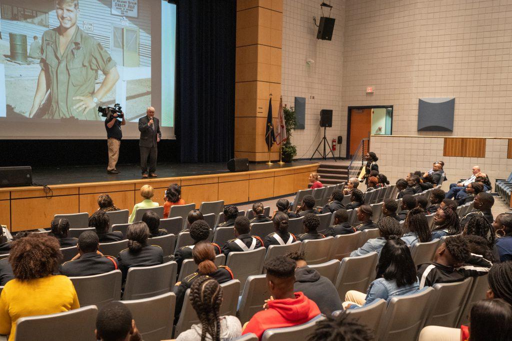 Medal of Honor recipient James McCloughan speaking at Burke High School