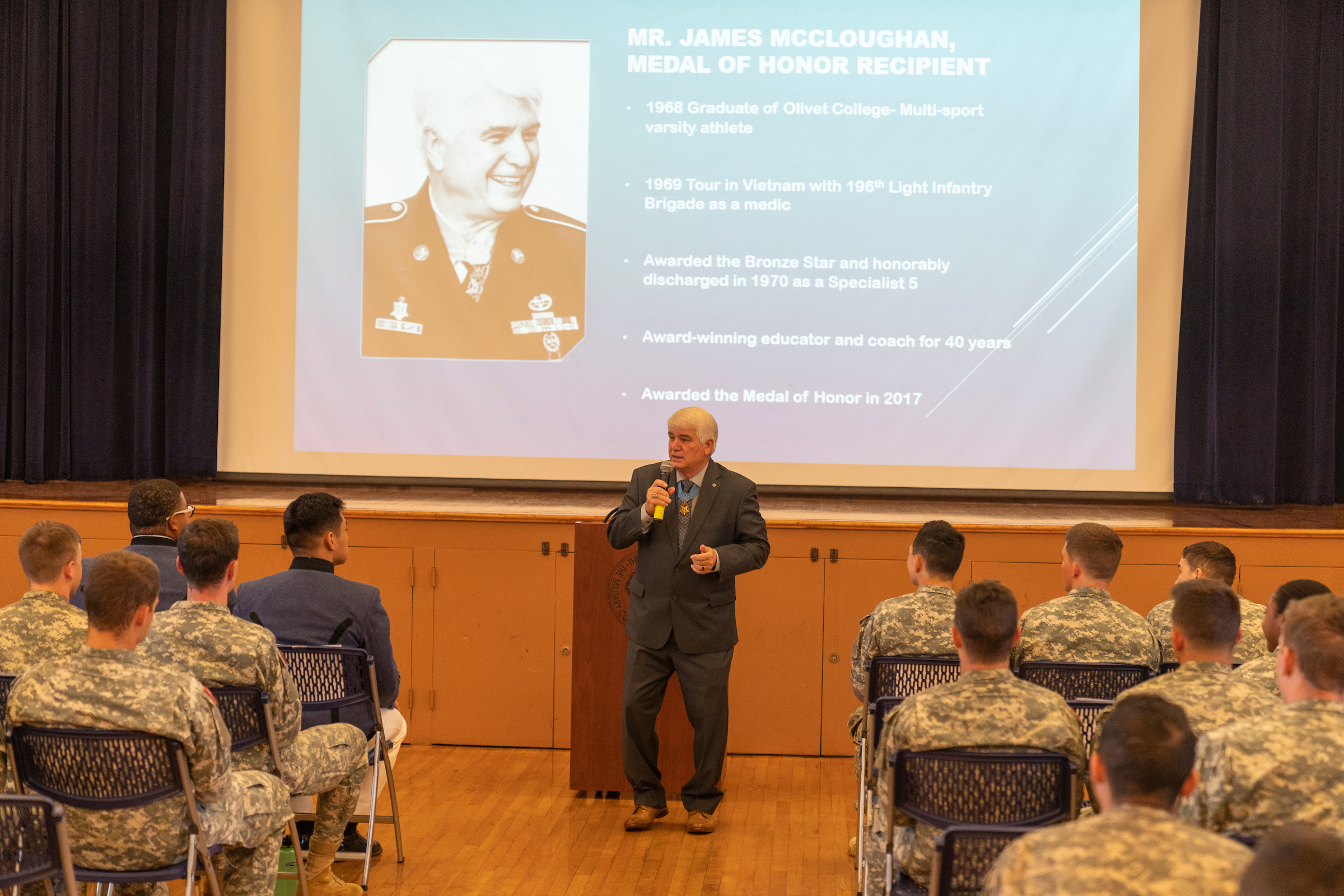Medal of Honor recipient James McCloughan speaking at the sophomore sendoff