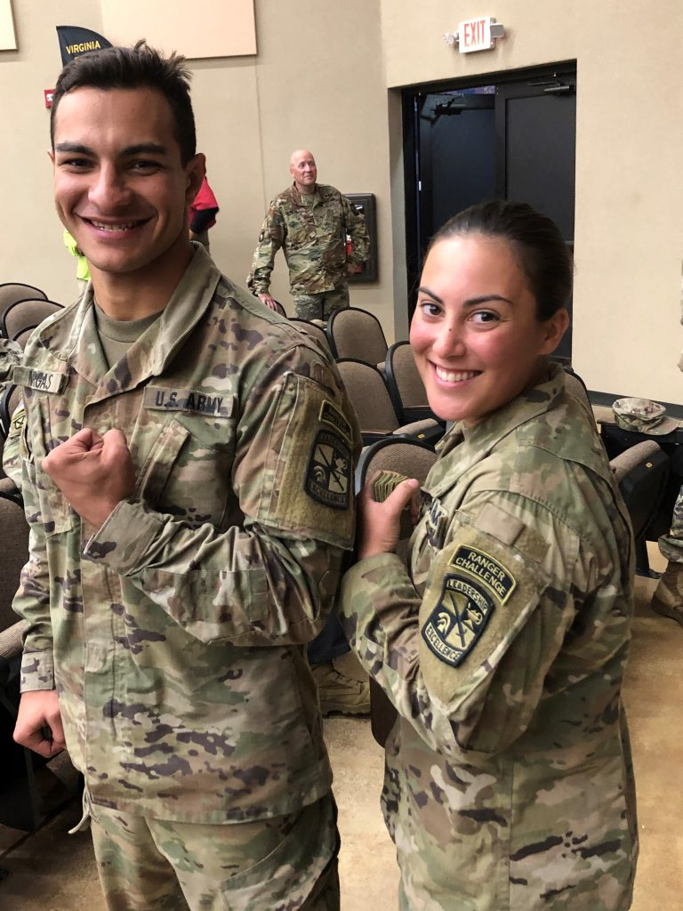 Paul Vargas, left, and Breana Broad showing off their Ranger Challenge patches
