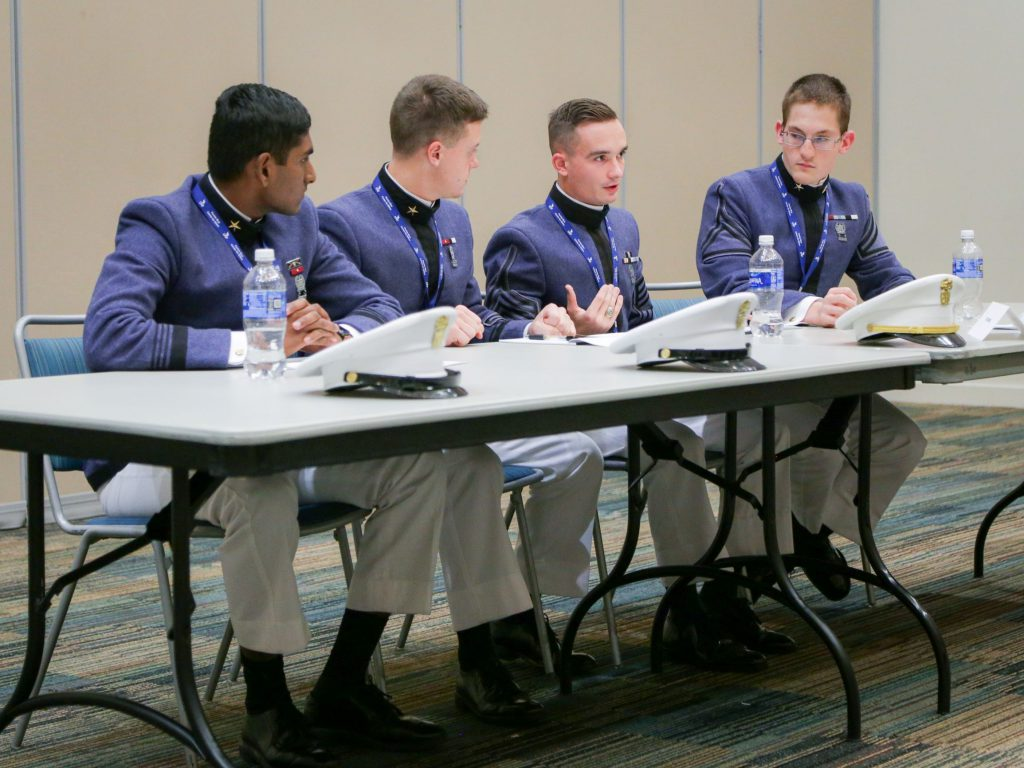 Prathipati, Skinner, Hope, Wedgeworth during the Southeast Regional Ethics Bowl competition