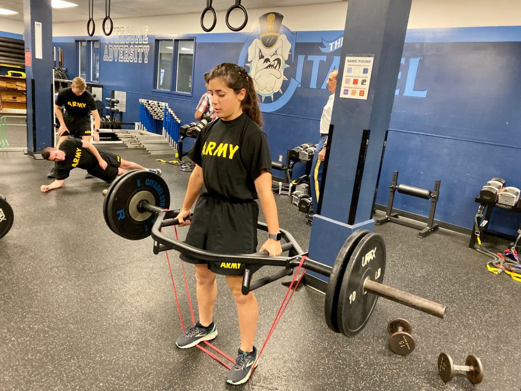 Army ROTC cadet Annie Donovo during special training session