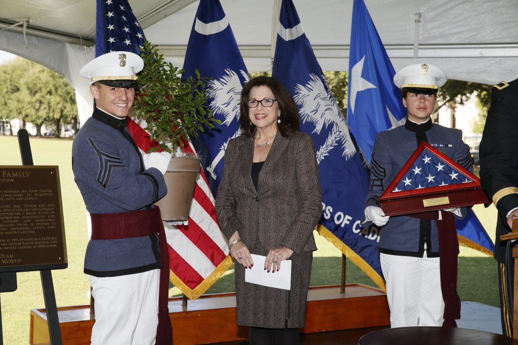 Anita Zucker with cadets at 2014 announcement of gift to The Citadel to expand the school of education