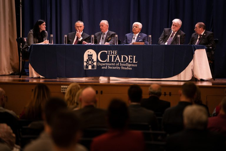 The FBI Watergate Panel, featuring Angelo Lano, Daniel Mahan, John Clynick, Paul Magallanes, and John Mindermann, moderated by Assistant Professor Melissa Graves, takes place during the 2020 Citadel Intelligence Ethics Conference in Mark Clark Hall at The Citadel in Charleston, South Carolina on Wednesday, February 12, 2020. (Photo by Cameron Pollack / The Citadel)