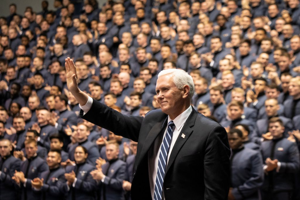 Vice President Mike Pence waives to crowd in McAlister Field House at The Citadel