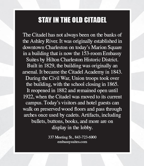 Stay at the Old Citadel - a tip in 100 things to do in Charleston before you die.