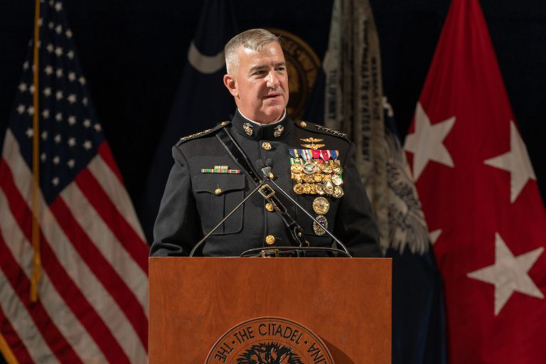 Gen. Glenn Walters, president of The Citadel, speaking at a graduation ceremony in 2019