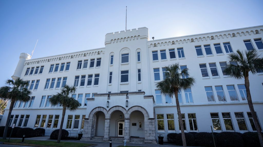 The exterior of Capers Hall is seen at The Citadel in Charleston,