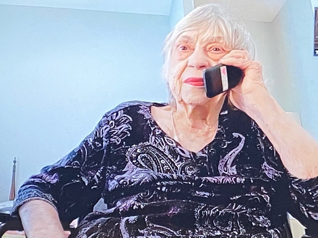 Maxine Hudson, first woman graduate of the Citadel speaking to the college's archivist via telephone and Zoom at 91 years old