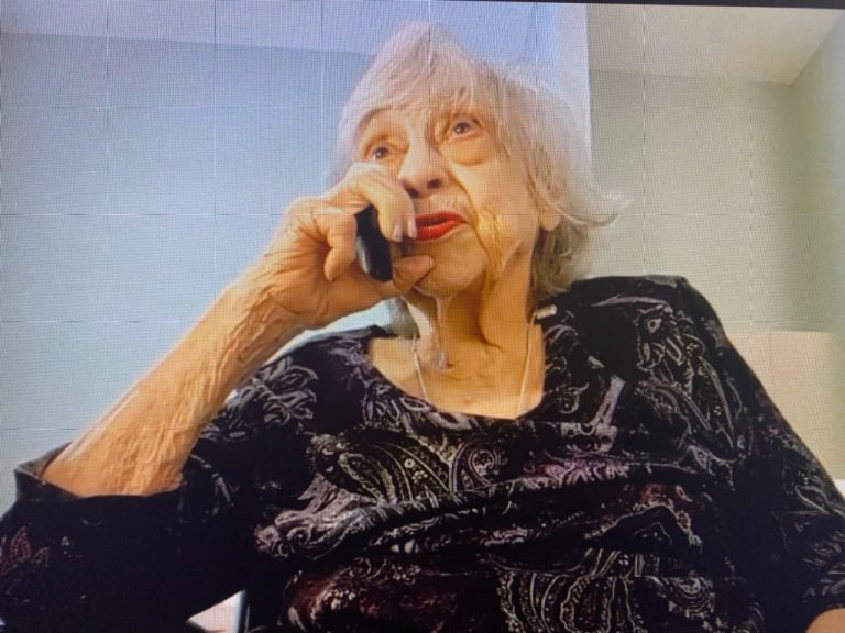 Maxine Hudson speaking on phone and via zoom about being the first woman graduate at the citadel in 1970