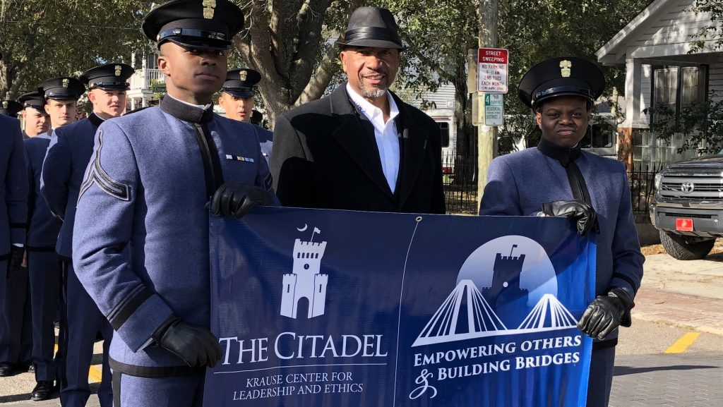 Cades with Bruce Alexander marking in MLK Day Parade