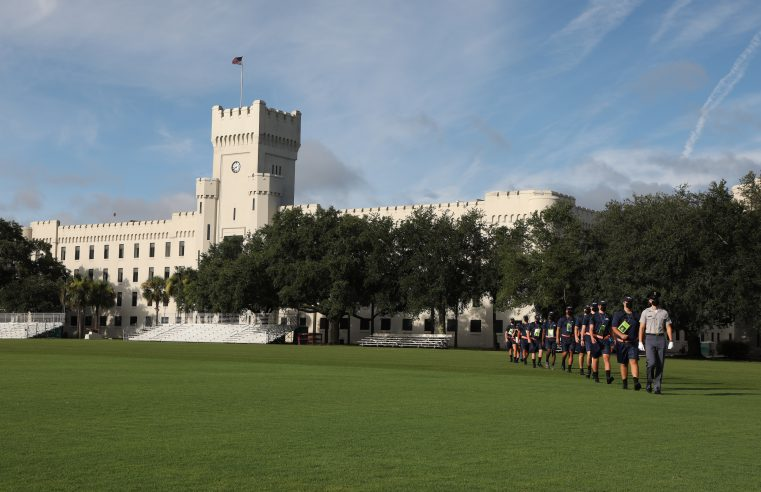 Knob Athletes report to campus at The Citadel in Charleston, South