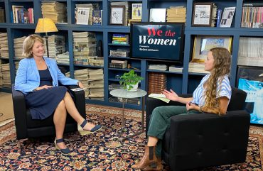 Citadel Provost Dr. Sally Selden being interviewed by Post and Courier reporter Jenna Schifrel for We the Women series