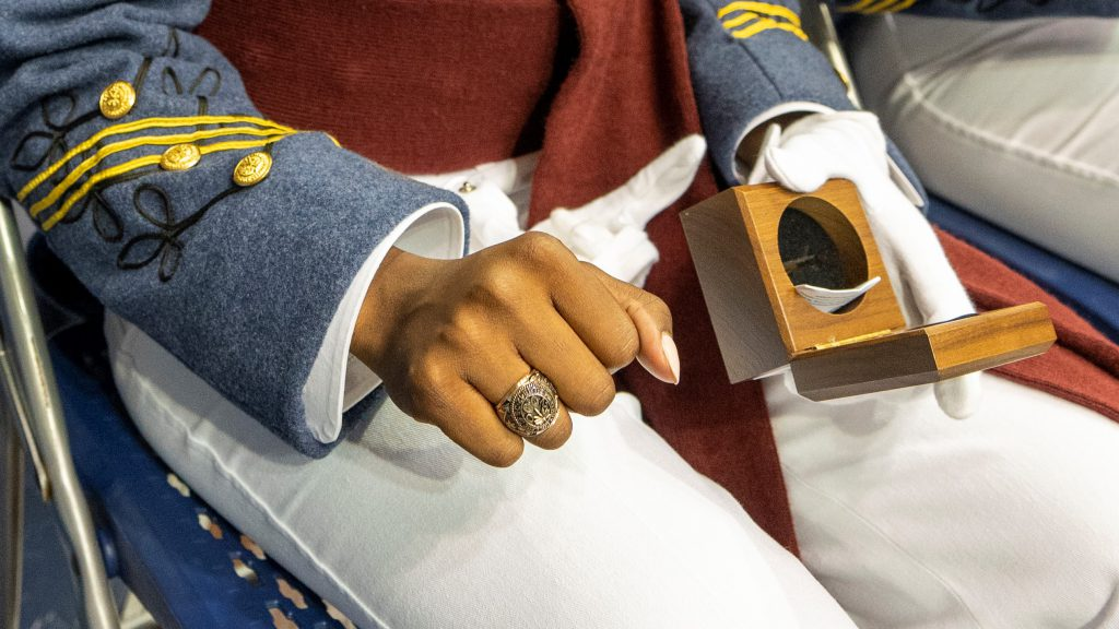 Hand of a woman cadet close up showing new citadel ring at ceremony