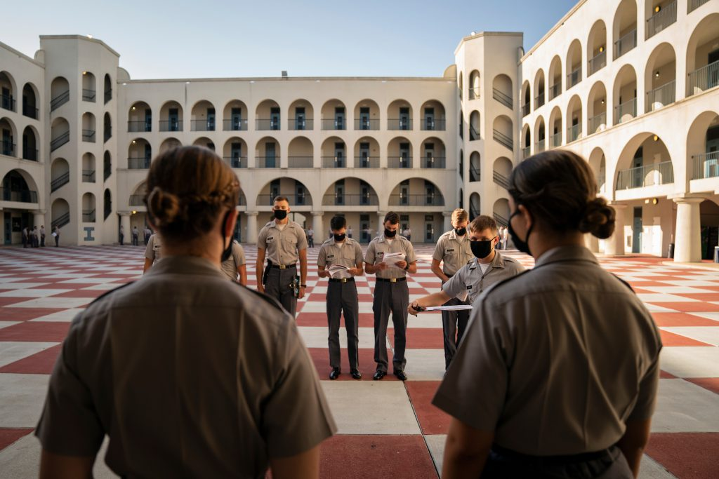 "Training Cadre cadets take part in a ""How To Teach Drill"" session in the barracks at The Citadel in Charleston, South Carolina on Tuesday, August 4, 2020. (Photo by Cameron Pollack / The Citadel)"
