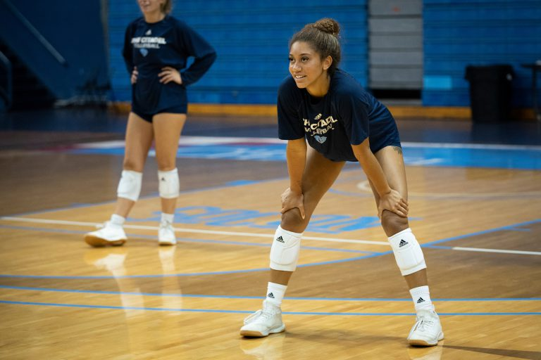 The Citadel Volleyball team takes part in their first practice of the season in McAlister Field House at The Citadel in Charleston, South Carolina on Thursday, August 6, 2020. (Photo by Cameron Pollack / The Citadel)