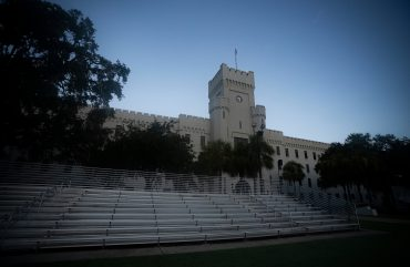 Padgett-Thomas Barracks is seen before sunrise from Summerall Field during Matriculation Day for the Class of 2024 at The Citadel in Charleston, South Carolina on Saturday, August 8, 2020. (Photo by Cameron Pollack / The Citadel)