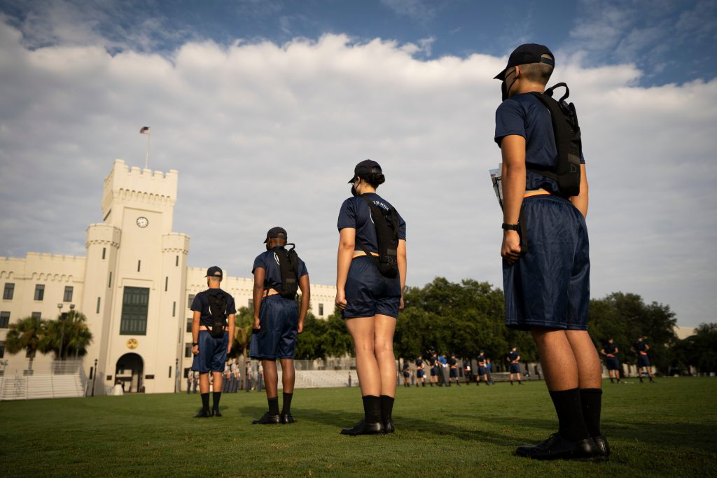 Knobs from the Class of 2024 take part in morning drill during Challenge Week at The Citadel in Charleston, South Carolina on Tuesday, August 11, 2020. (Photo by Cameron Pollack / The Citadel)