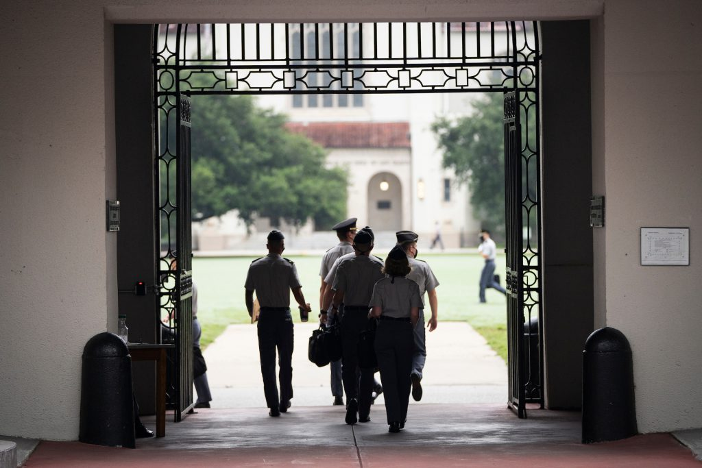 Cadets walk to their first day of classes of the fall semester at The Citadel in Charleston, South Carolina on Wednesday, August 19, 2020. (Photo by Cameron Pollack / The Citadel)