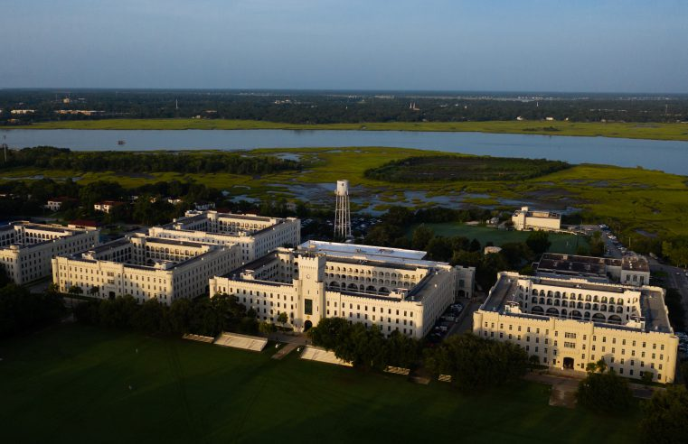 The Citadel campus is seen from the air in Charleston, South Carolina on Thursday, August 27, 2020. (Photo by Cameron Pollack / The Citadel)