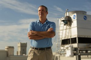Dr. Scott Curtis, Director of the new Citadel Climate Center, poses for a portrait on the roof of Grimsley Hall at The Citadel in Charleston, South Carolina on Wednesday, September 23, 2020. (Photo by Cameron Pollack / The Citadel)