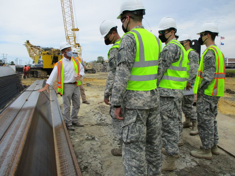 Citadel engineering cadets and students tour Cooper Hotel construction site in Charleston courtesy of Lowe, a real estate development company