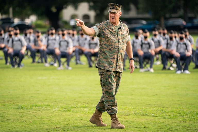Knobs from the Class of 2024 and the Cadre gather on Summerall Field for an address from Citadel President General Glenn M. Walters '79, USMC (Retired) during Challenge Week at The Citadel in Charleston, South Carolina on Tuesday, August 11, 2020. (Photo by Cameron Pollack / The Citadel)